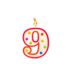 nine years anniversary 9 number shaped birthday vector image
