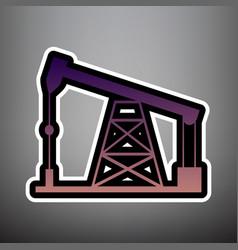 oil drilling rig sign violet gradient vector image
