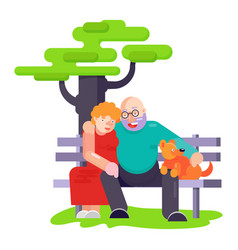 old people pensioners play with best friend pet vector image
