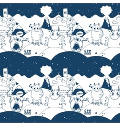 Pattern with cute monsters vector