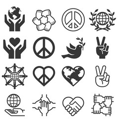 peace and love symbol icons set llustrations vector image