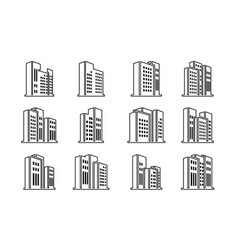 perspective black icons buildings and company vector image