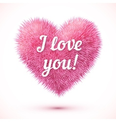 Pink fluffy heart with I love you sign vector image