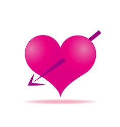 pink heart arrows piercing icon vector image