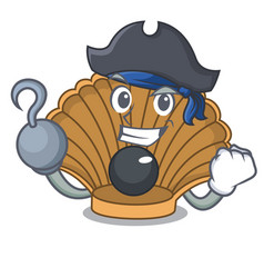 Pirate shell with pearl character cartoon vector