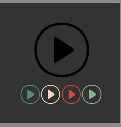 Play glossy round buttons vector