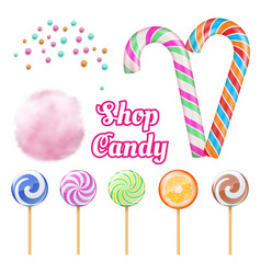realistic candies - cotton candie vector image