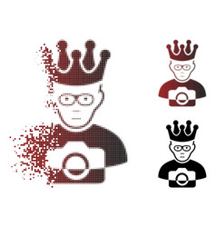 Sadly shredded pixel halftone thai king icon vector
