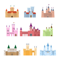set colorful medieval fairy tale princess vector image