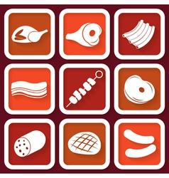 Set of 9 retro icons with meat vector image