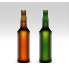 Set of Glass Brown Green Frosty Bottles with Drops vector