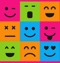 set of nine colorful emoticons vector image