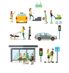 Set of street traffic concept design vector