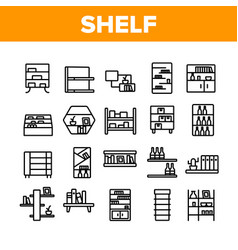 Shelf room furniture collection icons set vector
