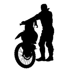 Silhouettes rider participates motocross vector