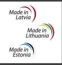 simple logos made in latvia made in lithuania and vector image