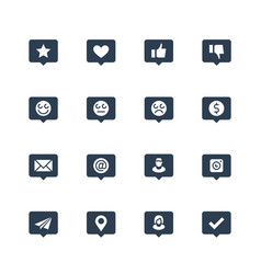 social net notifications icon set in glyph style vector image