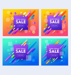 spring super sale poster set color design vector image
