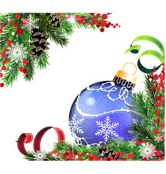 spruce branches and blue christmas ball vector image