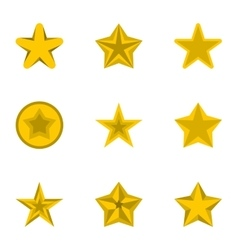 Star icons set flat style vector