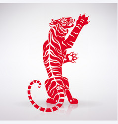 Stylized red tiger vector