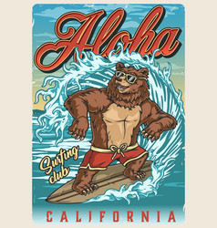 surfing vintage colorful poster vector image
