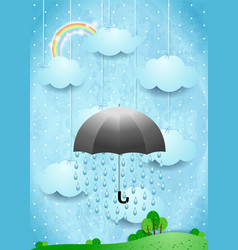 surreal landscape with umbrella and rain vertical vector image