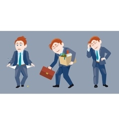Three of a businessman in sad situation vector
