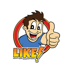 Thumb up cartoon character vector