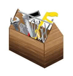 Tool box with object tool on white background vector