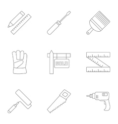 tools icons set outline style vector image