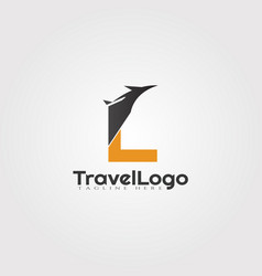 Travel agent logo design with initials l letter vector