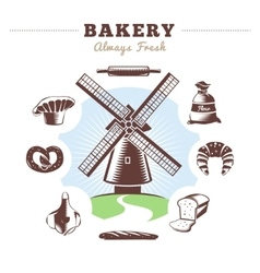 Vintage Bakery Element Set vector image