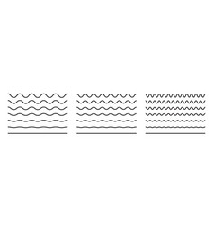 Wave line and wavy zigzag pattern lines black vector