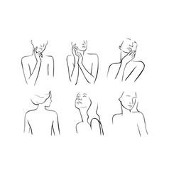 Woman line portrait torso and face vector