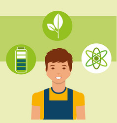 young man energy alternative battery atom vector image