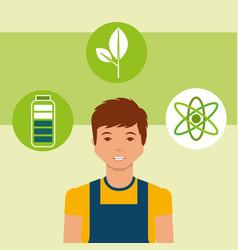 Young man energy alternative battery atom vector