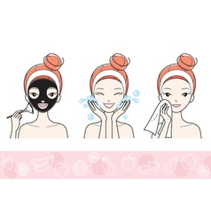 Young Woman With Facial Mask Step vector image