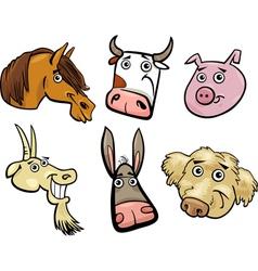 Cartoon farm animals heads set vector image vector image