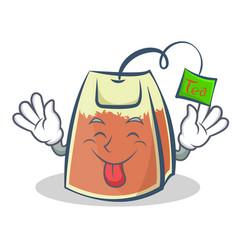 tongue out tea bag character cartoon art vector image vector image
