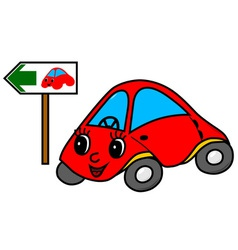 Toy car on green way vector image