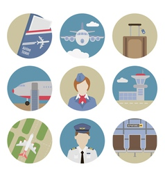 Airport flat icons vector image vector image
