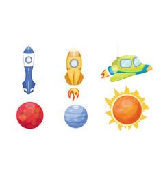 astronomy space rocket cartoon set vector image vector image