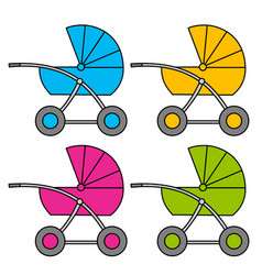 baby carriage multi-colored variants isolated vector image