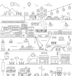CITY IN LINE ART FLAT ICONS STYLE vector image vector image