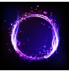 Dark background with shiny round frame with flame vector image vector image