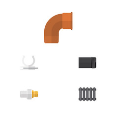 flat icon pipeline set of heater conduit iron vector image vector image