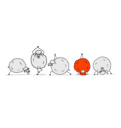 flock of sheeps sketch for your design vector image vector image
