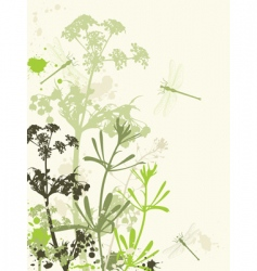 grunge background with flowers vector image