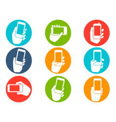 hands holding mobile phone icons buttons set vector image vector image